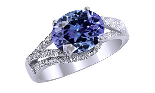 Jewel Zone US Simulated Alexandrite and White Cubic Zirconia Fashion Ring in 14k White Gold Over Sterling Silver (3 Cttw) ()