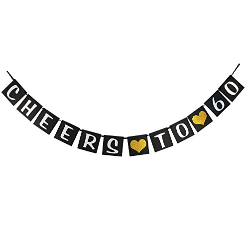(waway Cheers to 60 Birthday Banner Gold Glitter Heart for 60th Anniversary 60 Years Old Birthday Party Decoration Supplies Black (60))