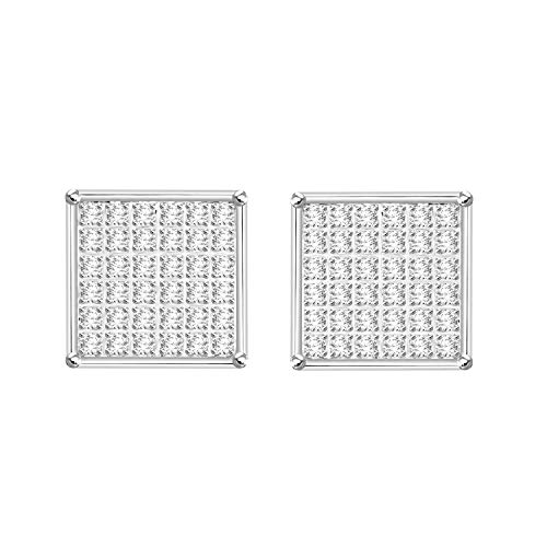 Eternal Bliss 1/4 cttw Round Diamond Square Cluster Unisex Yuva Stud Earrings in 10kt Gold (White-Gold) ()