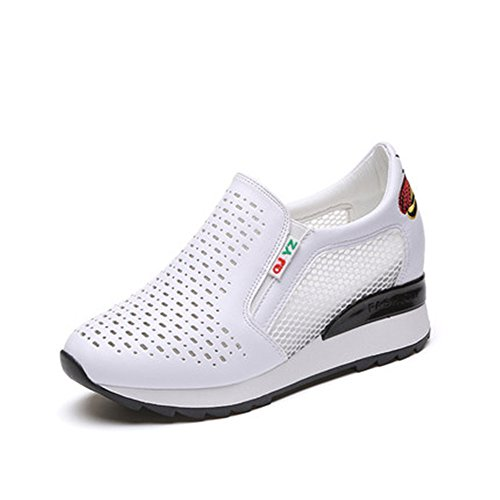 edv0d2v266 Women Fashion Leather Sneakers Casual Lace Up White Black Flat Shoes High Top Hidden Heel Wedges Platform Shoes (Black 38/6 M Women) by edv0d2v266
