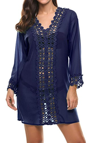 Skylin Laydies Summer Sexy See-Through Bikini Cover up Sun Protective Beach Dress (Navy Blue, - Clothes See Through Can Which Sunglasses