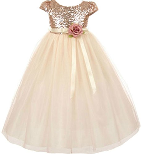 Sashes Satin Train Court - AkiDress Classic Baby Sequins Bodice Shinny Flower Girl Dress for Little Girl Blush 6