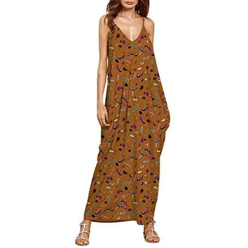 Spaghetti Strap Dress,Hemlock Women Sleeveless Long Dress Beach Party Dress (XL, Brown)