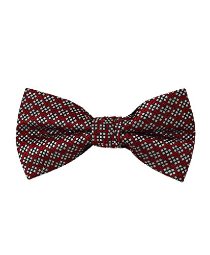 Men's Pixelated Red Poly Woven Banded Bow - Tie Pixelated