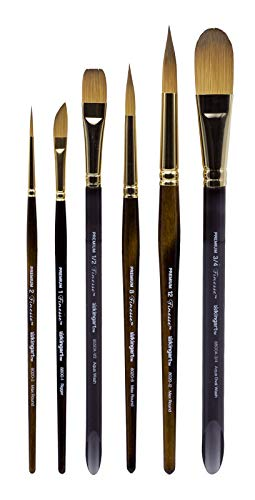 KINGART 1010B Finesse - Synthetic KOLINSKY Sable Set of 6 Paint Brush Set, Assorted, Gold, Brown