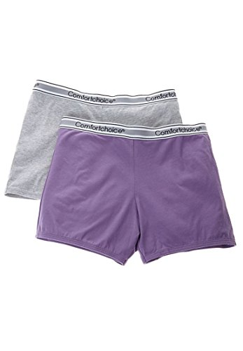 Stretch Cotton Sleepshirt (Comfort Choice Women's Plus Size 2-Pack Stretch Knit Boyshorts Violet Pack,16)