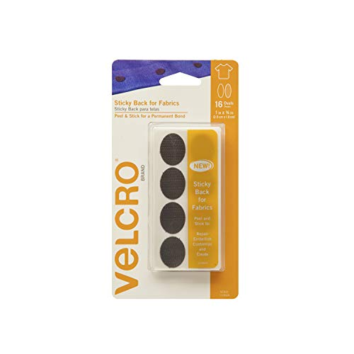 VELCRO Brand for Fabrics | Permanent Sticky Back Fabric Tape for Alterations and Hemming | Peel and Stick - No Sewing, Gluing, or Ironing | Pre-Cut Ovals, 1 x 3/4 inch, Black - 16 Sets - Velcro Adhesive Fastener