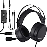 NUBWO N7 USB Gaming Headset, 7.1 Surround Sound Headphones with Noise Reduction Mic and MFB Control for PS4, Xbox One, Nintendo Switch, PC, Laptop, Mobile Phone [3.5mm & USB Jack, Black]