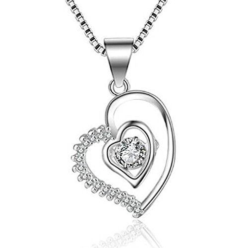 Phonphisai shop Double Heart Pendant Necklace Crystal Rhodium Mixed Rose Gold Color Necklaces Color Silver