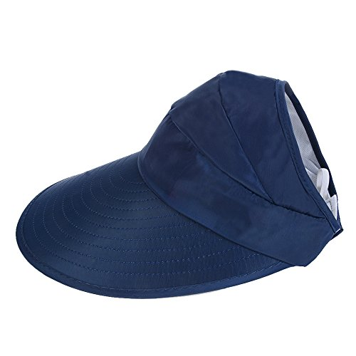 CHENYUE Sun Hat with Leaf Print Summer Beach Visor Cap UV Protection Wide Brim Solid Color Foldable and Adjustable Hat for Women (Dark Blue)