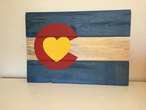 Colorado Sign, Beetle Kill Dyed Colorado State Flag Heart Wall Hanging (Colorado Rockies Charm)