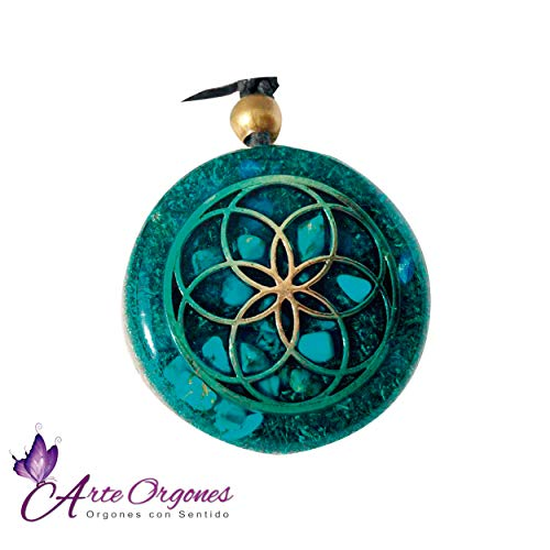 Orgonite necklace by Seed of Life - Healing crystals with sacred geometry for EMF protection - Orgone pendant with turquoise, moonstone and pink quartz ()