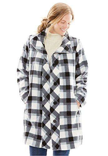 Woman Within Women's Plus Size Jacket, Swing Style, In Cozy Fleece Black White Tonal (Style Jacket Womens Coat)
