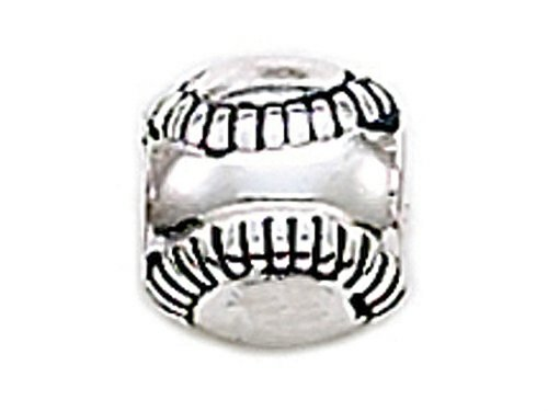 (Zable Sterling Silver Baseball Pandora Compatible Bead / Charm)