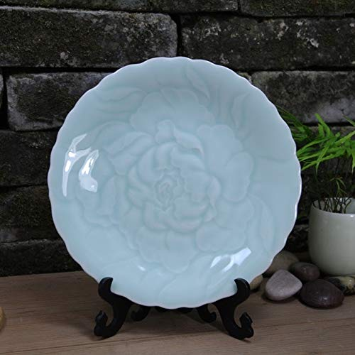 ZAMTAC Exquisite Chinese Traditional Handicraft Green Glaze Porcelain Plate, with Peony Flower Design - (Color: 01)