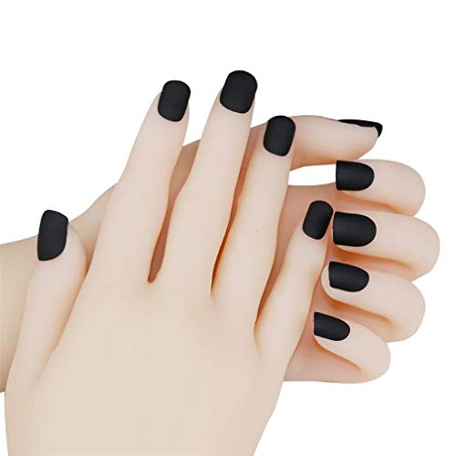 JINDIN 24 Sheet Short Matte Fake Nails with Glue Acrylic French False Nail Art Tips Full Cover Press On Nails Sticker Black -