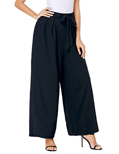 Luyeess Women's Casual Black Wide Leg High Waisted Self Tie Flowy Chiffon Long Pants Size Large (Fits US 12 - US 14)