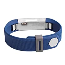 For Fitbit Alta,Haoricu Luxury Silicone Security Band Clasp Ring Loop Fastener (Gray)