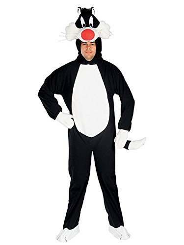 Deluxe Looney Tunes Sylvester The Cat Adult Costume, Black/White, (Bugs Bunny Mascot Costume)