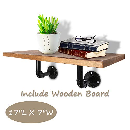 KINGSO 17'' L x 7'' W Industrial Wood Floating Shelf Bracket for Wall Pipe Wooden Shelf Hanging Farmhouse Urban Style Include Wooden Board by KINGSO