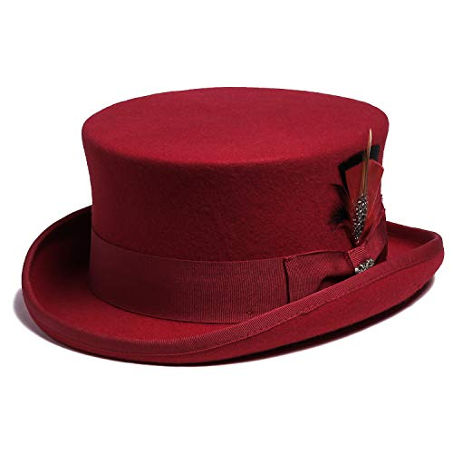 Bellmora Men's Wool Coachman and Classic Top Hat for Costume and Masquerade (X-Large, -