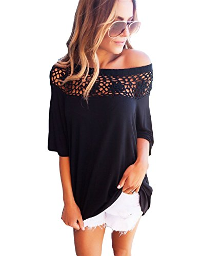 Zhaoyun Womens Sexy Lace off shoulder Solid T-shirts Casual Loose Top Tee Shirts
