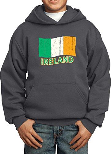 Clover Kids Hoodie - Kids Distressed Ireland Flag Youth Hoodie, Charcoal, Medium