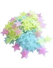 200 قطعة من النجوم البلاستيكية ثلاثية الابعاد بالوان متعددة تضيء في الظلام يمكنك لصقها على جدران أواسقف غرفة الاطفال او غرفة المعيشة او غرفة النوم او غرفة حضانة الاطفال