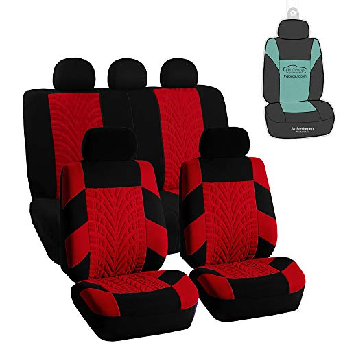 FH Group Travel Master Full Set Car Seat Covers, Airbag & Split Ready w. Gift, Red/Black Color- Universal Fit for Trucks, SUVs, and Vans