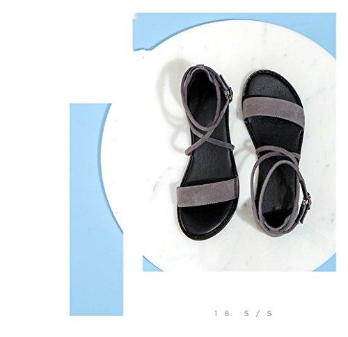 moda Sandali Pantofole piatti da alti DHG tacco Sandali basso a Grigio basso estivi donna 35 Tacchi con alla casual tacco Sandali Ewq0SqY