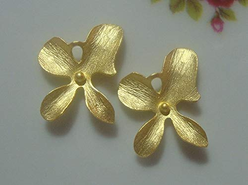 - 22K Gold on 925 Sterling Silver 4 Petal Orchid Flower Connector, 2 pcs, Handmade Findings, Semi Matte Satin Finish