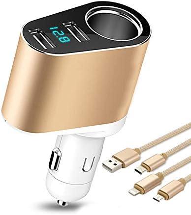 デュアルUSBカーチャージャー、スマートフォン、タブレットGPSのための電流電圧計LEDディスプレイの低ボルトの警告とシガーライターアダプタソケットスプリッタープラグイン