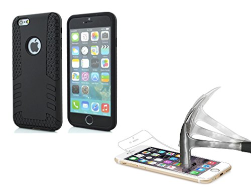 DEET® Apple iPhone 66S nero Rocket case. Super Slim antiurto custodia in silicone con protezione in vetro temperato Premium