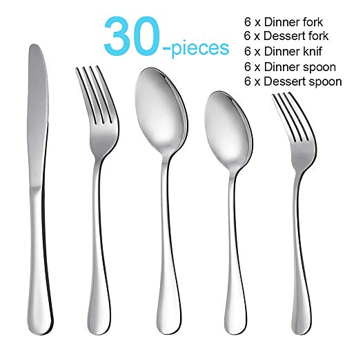 WYJP Stainless Steel Flatware Set 30 Pieces, Mirror Polished Silverware Set Service for 6, Include Knife Fork and Spoon, Dishwasher Safe