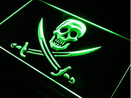 Nautical Pirate Ship Themed Birthday Party Supplies || Flag Art Decal Decor Decoration Ideas || Personalized Custom Neon Sign with Window Wall Hanging Chain Night Light Up Box (16