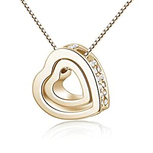 Christmas Gift Double Love Heart Shape Pendant Necklace,Crystal Love Style Stainless Steel Necklace Jewelry(Gloden)