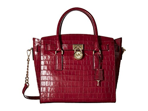 Michael Kors Hamilton Large East West Leather Satchel in Mulberry (East West Embossed Satchel)