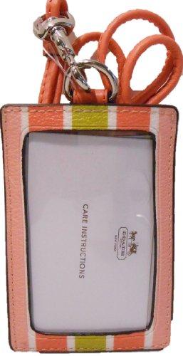 Coach F69805 Orange Peyton Multi-stripe Lanyard ID Card Holder
