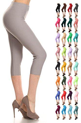 Leggings Depot Women's Popular Basic Capri Cropped Regular and Plus Solid High Waist Leggings (Plus (Size 12-24), Light Gray)