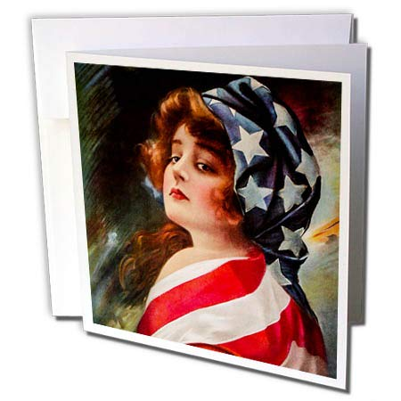Flag Vintage Patriotic Postcard - 3dRose Scenes from The Past - Postcard - Patriotic 1916 World War I Vintage Pin-Up Betsy Ross Americana - 12 Greeting Cards with envelopes (gc_300250_2)