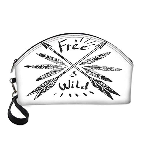 Arrow Decor Small Portable Cosmetic Bag,Native American Feathers and Arrows Vintage Weapon with Lettering Free and Wild For Women,One size