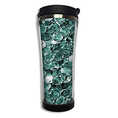 Customizable Travel Photo Mug with Lid - 8.45 OZ(250 ml)Stainless Steel Travel Tumbler, Makes a Great Gift by,Pearls,Crystal Clear Balls Coins Pattern Never Ending Liquid Objects Monochrome Design ()