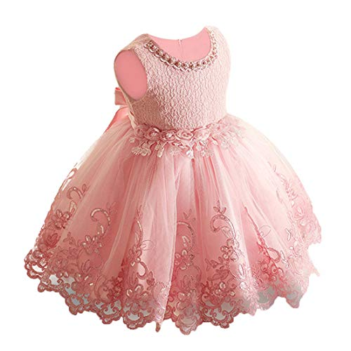 LZH Baby Girl Dress Formal Christening Baptism Gowns Pageant Dress Toddler (981-M.Pink, 80/9-12 months) -