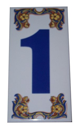 - Treasures of Morocco Moroccan Decorative House Numbers Ceramic Tile Mexican Spanish Mediterranean # 1