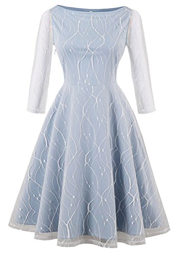 Kimring Women's Vintage 3/4 Length Sleeve Boat Neck Lace Mesh Fit and Flare A-line Swing Cocktail Party Dress Light-Blue Small