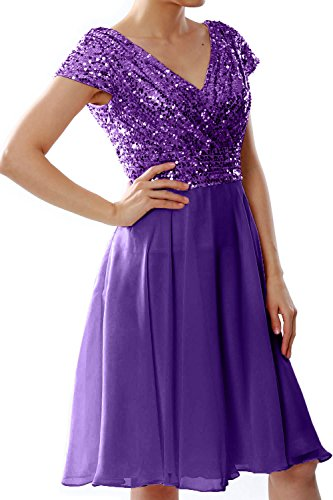 MACloth Formal Gown Sequin Cap Party Short Bridesmaid Violett Wedding Dress Sleeve Women rTF4qr