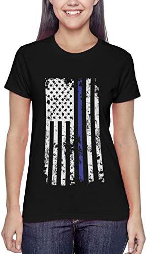 Haase Unlimited 블루 라인 성조기 - 경찰 지원 여성용 티셔츠 / Haase Unlimited 블루 라인 성조기 - 경찰 지원 여성용 티셔츠