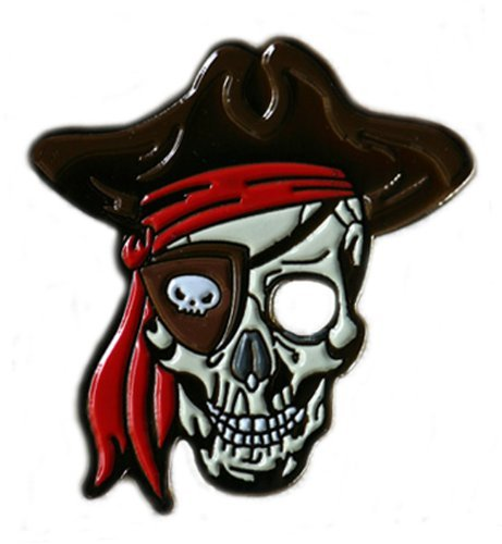 Be The Ball 4U Skull Pirate Cool Golf Ball Marker with Matching Flame Hat Clip