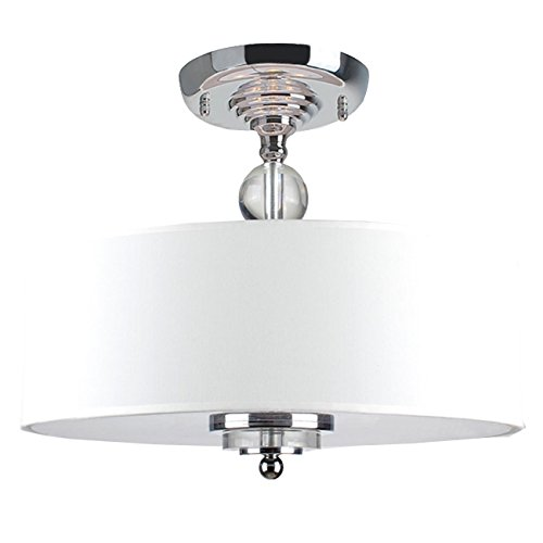 Crystal Decorated Off-white Shade Flushmount Ceiling Chandelier, Simple Design Gives It an Elegant Look, While the Drum-style Cylinder Diffuses Light Throughout the Room by The Lighting Store