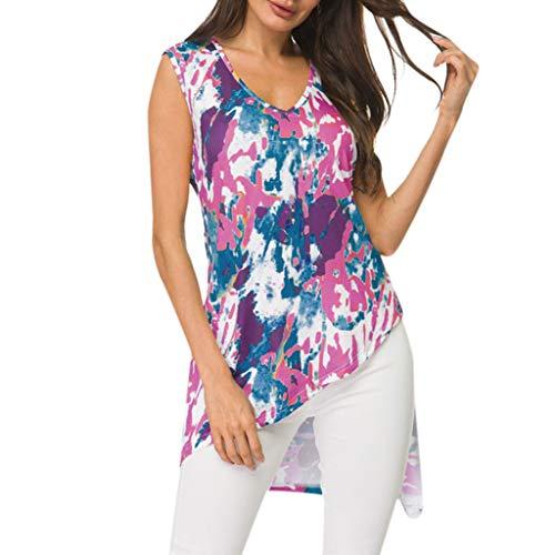Women's Sexy Tops 2019 Fashion,YEZIJIN Women's V-Neck Print Sleeveless Color Inkjet Irregular Hem Loose Top Blouse Hot Pink